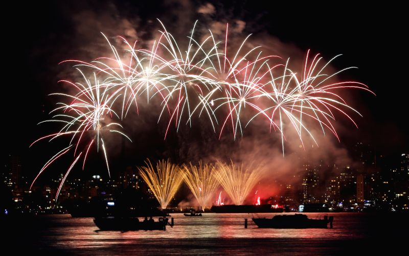 VANCOUVER, July 24, 2016 - Team Netherlands displays its fireworks show during the 26th Celebration of Light at English Bay in Vancouver, Canada, on July 23, 2016. This year's fireworks competition ...
