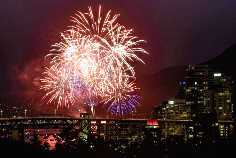 VANCOUVER, July 29, 2018 - Fireworks are seen during the 28th Celebration of Light, a fireworks competition, in Vancouver, Canada, July 28, 2018.