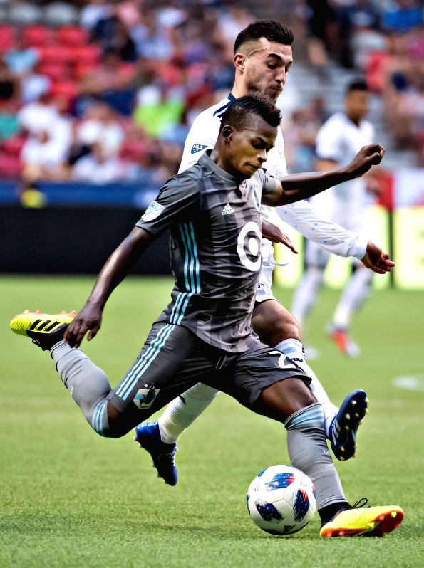 VANCOUVER, July 29, 2018 - Minnesota United's Darwin Quintero (Front) competes during the MLS regular season soccer match between Vancouver Whitecaps and Minnesota United in Vancouver, Canada, July ...
