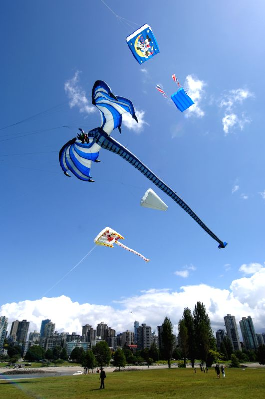 Kites fly over the Vanier Park in Vancouver, Canada, July 4, 2014. Vancouver is officially Canada's top travel destination, according to the prestigious travel ...