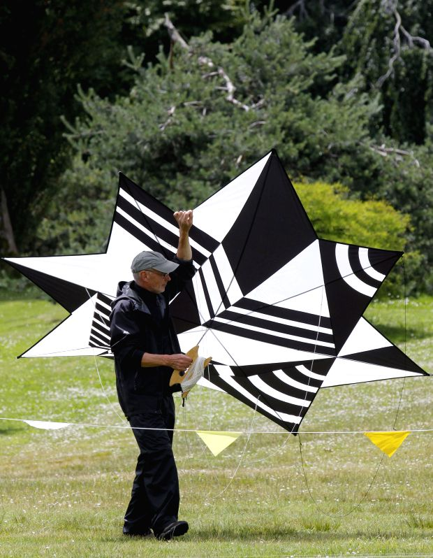A man holds a kite at the 39th Pacific Rim kite festival in Vancouver, Canada, June 15, 2014. Dozens of kite enthusiasts participate in the 39th annual Pacific ...