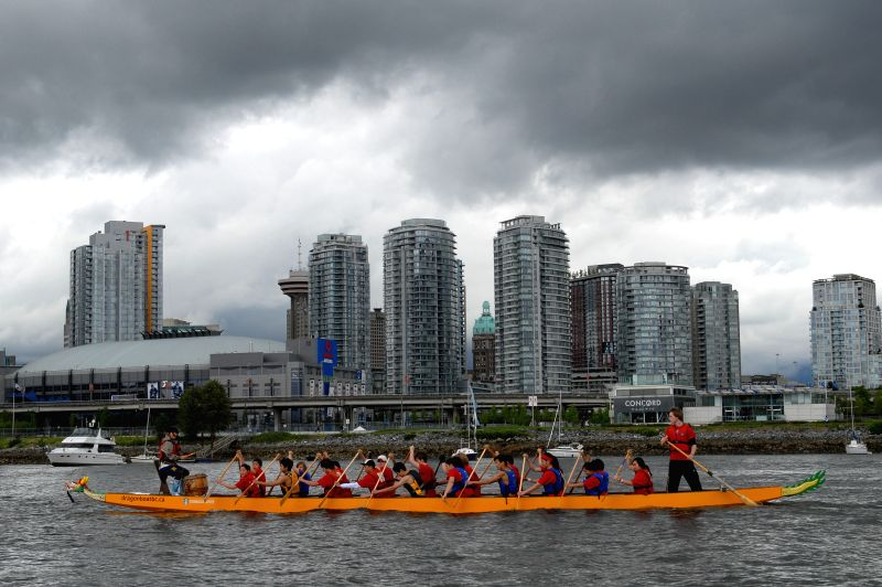Rowers particpate in the 26th Rio Tinto Alcan Dragon Boat Festival and Race in Vancouver, Canada, on June 20, 2014. Created 26 years ago as a showcase of ...