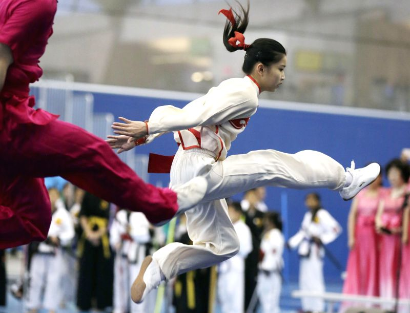 VANCOUVER, May 14, 2016 - An athlete demonstrates martial arts during the opening ceremony of the 37th Can-Am International Martial Arts Championships in Richmond, Canada, May 13, 2016. Over 600 ...