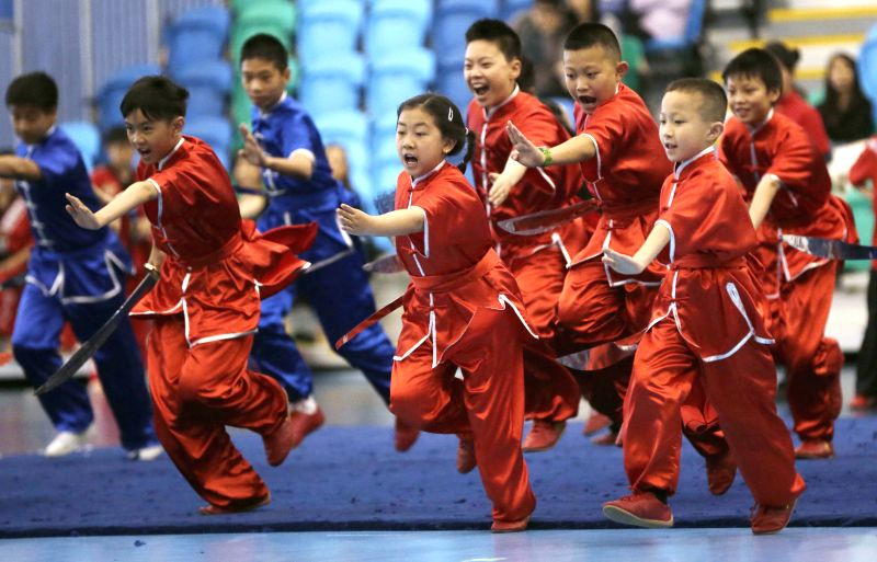 VANCOUVER, May 14, 2016 - Young athletes perform martial arts together during the opening ceremony of the 37th Can-Am International Martial Arts Championships in Richmond, Canada, May 13, 2016. Over ...