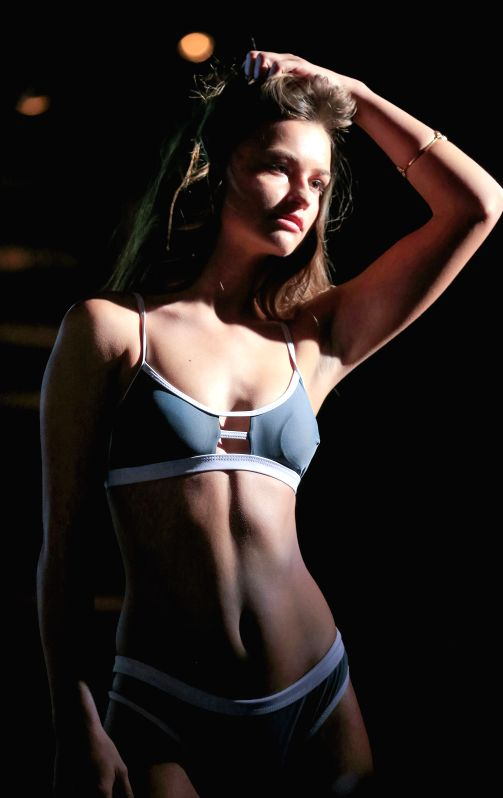VANCOUVER, May 14, 2017 - A model presents local designer's latest swimwear collection at the 3rd annual Swimwear Fashion Show in Vancouver, Canada, May 13, 2017.