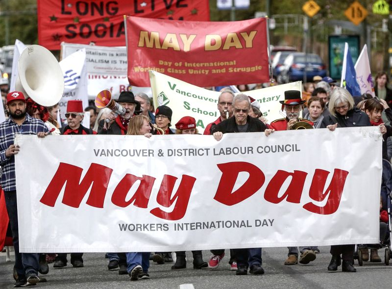 VANCOUVER, May 2, 2017 - People participate in a May Day parade to raise awareness of the rights of workers in Vancouver, Canada, May 1, 2017.