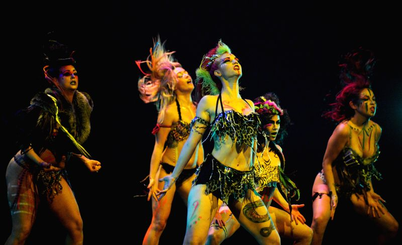 Dancers perform at the ninth annual Vancouver International Burlesque Festival on May 2, 2014 in Vancouver, Canada.