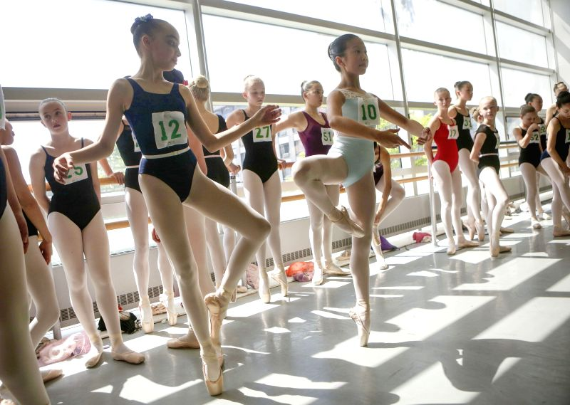 VANCOUVER, May 8, 2017 - Dancers practice during the open audition of the Nutcracker production in Vancouver, Canada, May 7, 2017. More than 200 dancers of different ages participated in an open ...
