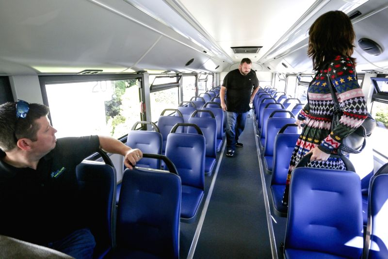 VANCOUVER, Oct. 6, 2017 - Residents visit the interior of the electric school bus in Vancouver, Canada. Oct. 5, 2017. A Vancouver-based bus manufacturer, GreenPower Motor Company, is hitting the ...