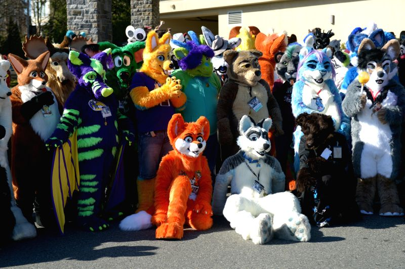 People wear their favorite furry costumes to take part in the 4th annual Anthromorphic Art and Costuming Convention on March.7, 2015 in Vancouver, Canada. ...