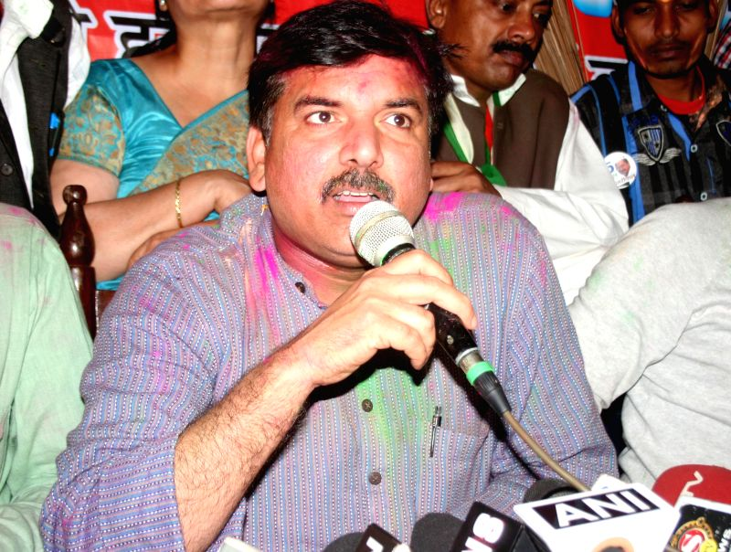 Aam Aadmi Party (AAP) leader Sanjay Singh addresses a press conference in Varanasi, on March 9, 2015. - Sanjay Singh