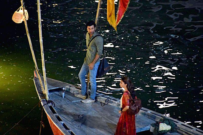 "Actors Ranbir Kapoor and Alia Bhatt during the shooting of their upcoming film ""Brahmastra"" at Dashashwamedh Ghat in Varanasi"