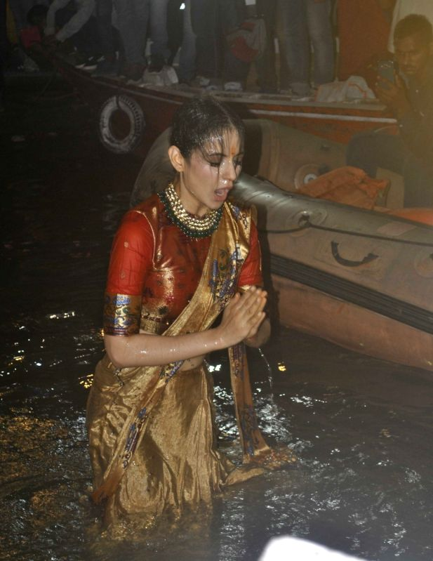 Varanasi Actress Kangana Ranaut takes a holy dip in the Ganga river in Varanasi on May 4, 2017. - Kangana Ranaut