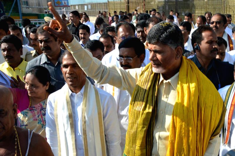 Andhra Pradesh Chief Minister N. Chandrababu Naidu during his visit to the Balaji Temple in Tirupati, Andhra Pradesh on Feb 20, 2015. - N. Chandrababu Naidu