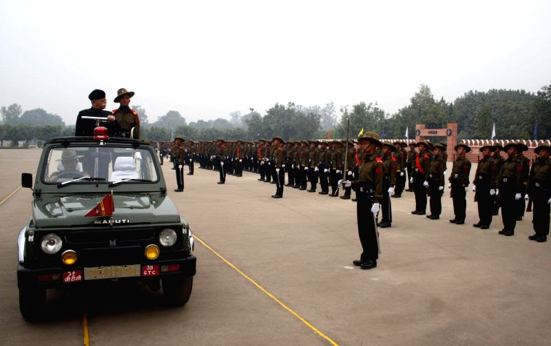 Army recruits during their passing out parade at the 39 Gorkha Training Centre in Varanasi on Dec 14, 2014.