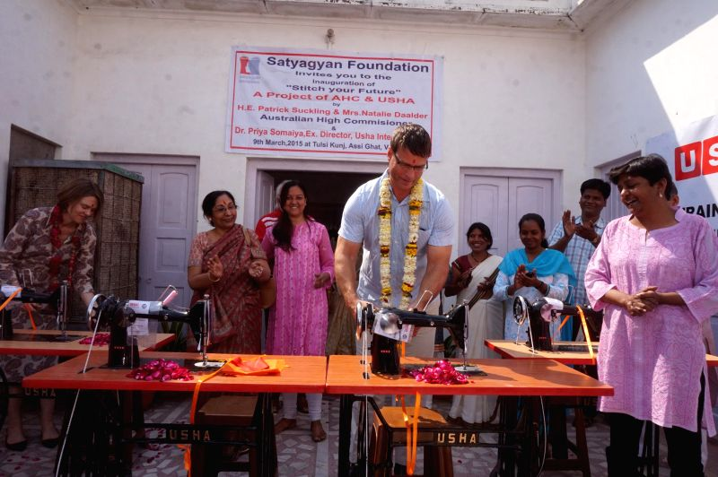 Australian High Commissioner to India, Patrick Suckling and his wife Natalie Daalder during inauguration of `Stitch Your Future` - an innovative  project funded by the Australian government ...