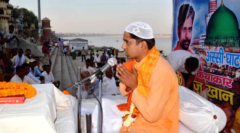 Faiz Khan - a Muslim by religion during a gau-katha session at Assi Ghat of Varanasi on March 24, 2015. - Faiz Khan
