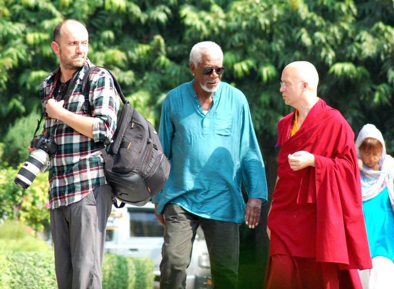 : Varanasi: Hollywood Actor Morgan Freeman arrives at Sarnath Buddhist monasteries near Varanasi on Nov. 6, 2015. (Photo: IANS).