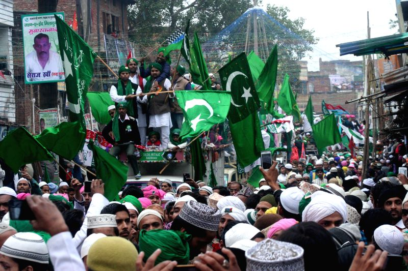 Muslims participate in a procession organised on  Eid Milad-un-Nabi - Prophet Mohammad's birthday in Varanasi, on Jan 4, 2015.