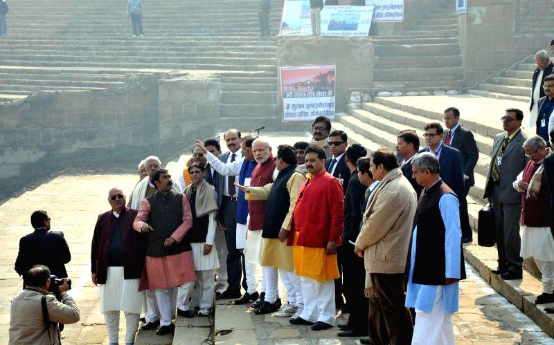 Prime Minister Narendra Modi visits Assi Ghat in Varanasi on Dec 25, 2014. - Narendra Modi