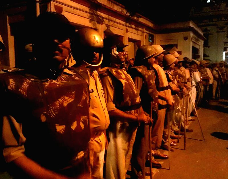 Security beefed-up in the Banaras Hindu University (BHU) campus as two groups of students clash inside the campus in Varanasi on April 9, 2015.