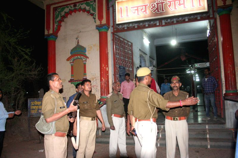 Security beefed up outside Sankat Mochan Hanuman Temple of Varanasi after a hoax bomb call on Feb 25, 2015.