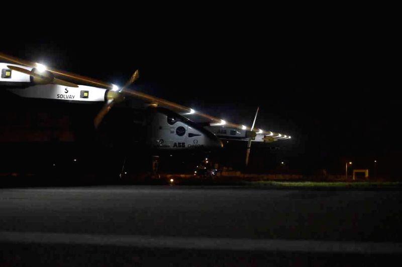 Solar Impulse 2 arrives in Varanasi on March 18, 2015.
