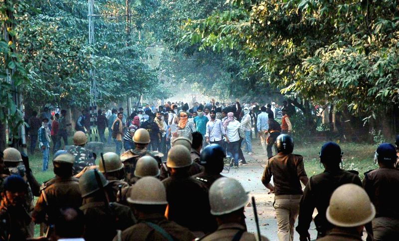 Students clash with police during a protest at Banaras Hindu University (BHU)campus in Varanasi on Nov. 20, 2014.