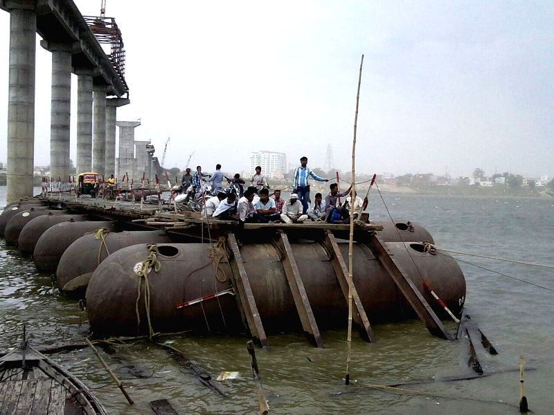 The pontoon bridge over the Ganga river connecting Varanasi to Ramnagar that got destroyed in the gusty winds and heavy rains that lashed parts of Uttar Pradesh on April 28, 2015.