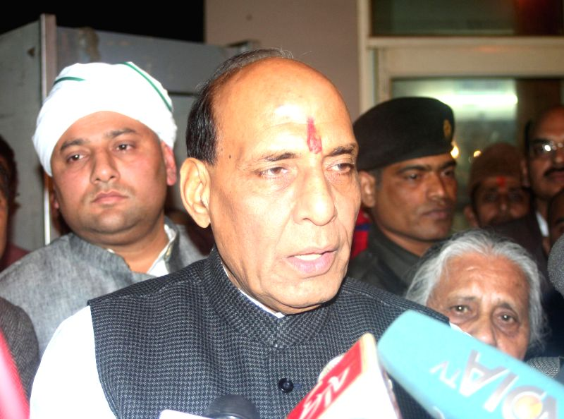 Union Home Minister Rajnath Singh addressing the media in Varanasi on Jan. 28, 2015.