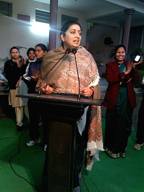 Union Human Resource Development Minister Smriti Irani addresses at the inauguration of a blood bank in Varanasi, on Dec 24, 2014.