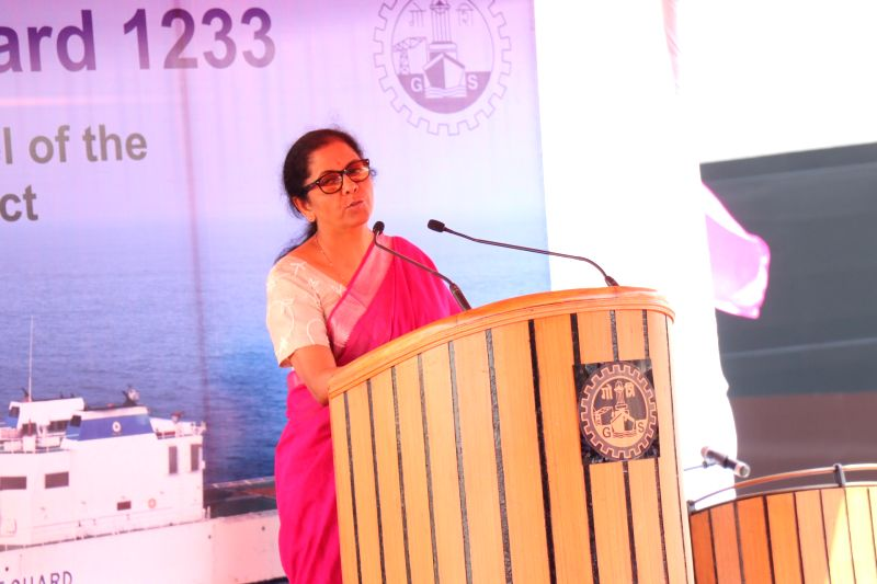 Vasco da Gama: Defence Minister Nirmala Sitharaman addresses at the launch of the Coast Guard offshore patrol vessel (OPV) Yard 1233 at Goa Shipyard Limited premises, in Vasco da Gama, Goa, on Feb 21, 2019.