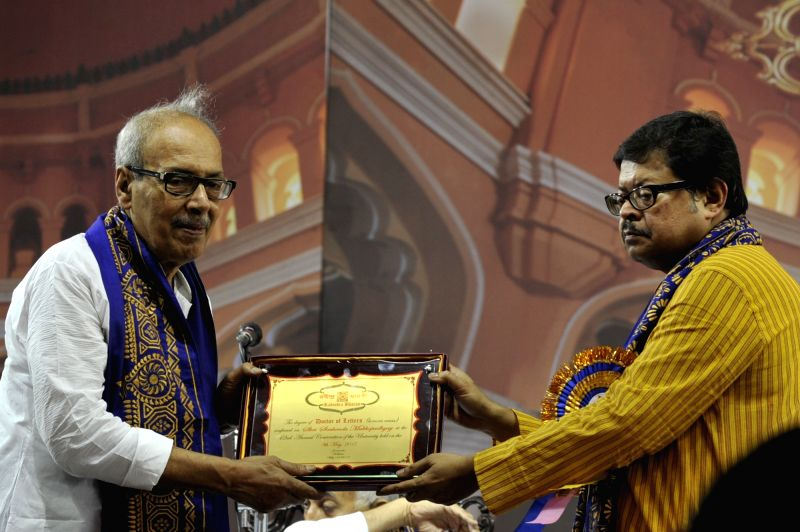 VC of Rabindra Bharati University Prof. Sabyasachi Basu Ray Chaudhury confers D Litt (Honoris Causa) to author Shirshendu Mukhopadhyay during 42nd Convocation of Rabindra Bharati University ...