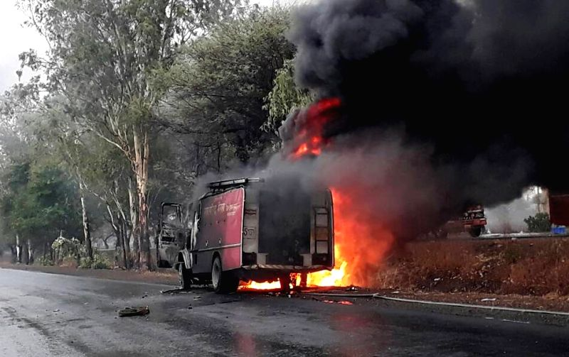 Vehicles set on fire by agitating farmers against killing of farmers of Madhya Pradesh's Mandsaur; in Indore on June 7, 2017.