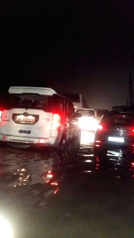 Vehicles stranded at Gurgaon Hero Honda chowk.