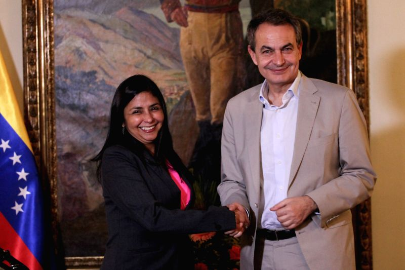 Venezuela's Foreign Minister Delcy Rodriguez (L) meets with Spain's former Prime Minister Jose Luis Rodriguez Zapatero in Caracas, Venezuela, on Dec. 2, 2015. Jose ... - Delcy Rodriguez