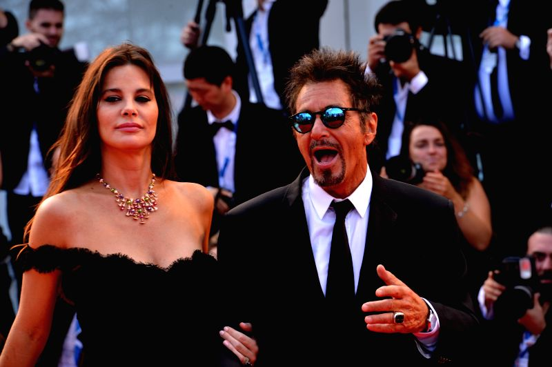 "Actor Al Pacino and his girlfriend  Lucia Sola pose on the red carpet for ""Manglehorn"" during the 71st Venice Film Festival in Lido of Venice, Italy, Aug. ."
