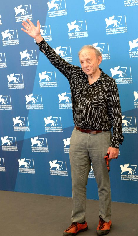US director Frederick Wiseman poses during the photo call for the Golden Lion for Lifetime Achievement of the 71st Venice International Film Festival, in Lido of ...