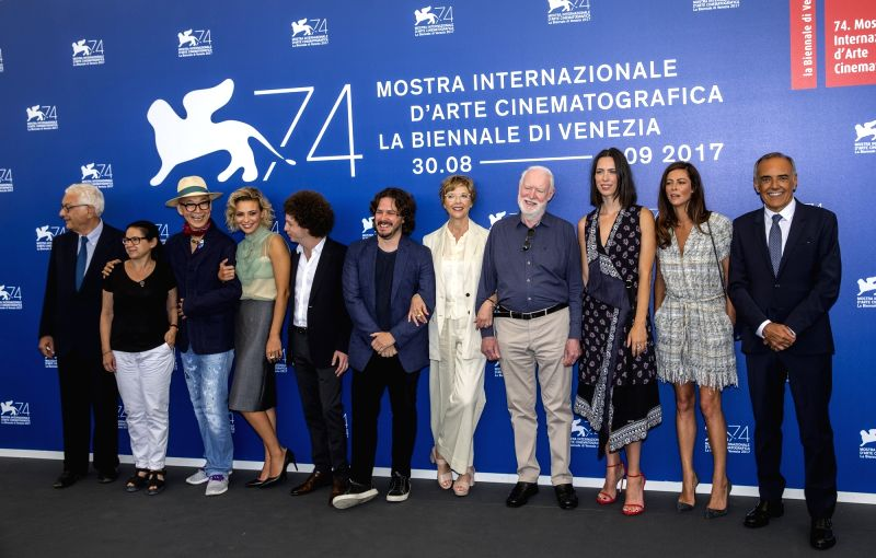 VENICE, Aug. 30, 2017 - Venice Biennale President Paolo Baratta (1st L) and jury members of the 74th edition of the Venice Film Festival Ildiko Enyedi, Yonfan, Jasmine Trinca, Michel Franco, Edgar ...