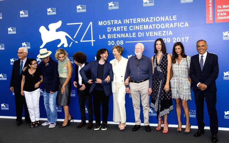 VENICE, Aug. 30, 2017 - Venice Biennale President Paolo Baratta (1st L) and jury members of the 74th edition of the Venice Film Festival Ildiko Enyedi, Yonfan, Jasmine Trinca, Michel Franco, Edgar ...