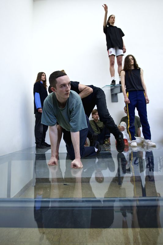 VENICE, May 15, 2017 - Artists perform at the pavilion of Germany during the 57th Art Biennale in Venice, Italy, on May 13, 2017. German choreographer Anne Imhof was awarded the Golden Lion for best ...