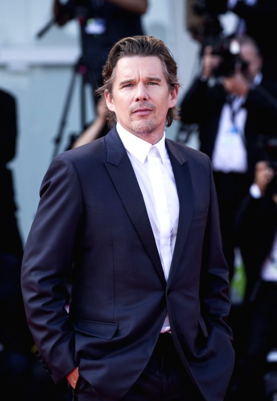 "VENICE, Sept. 1, 2017 - Actor Ethan Hawke arrives for the premiere of the movie ""First Reformed"" at the 74th Venice Film Festival in Venice, Italy, on Aug. 31, 2017. - Ethan Hawke"