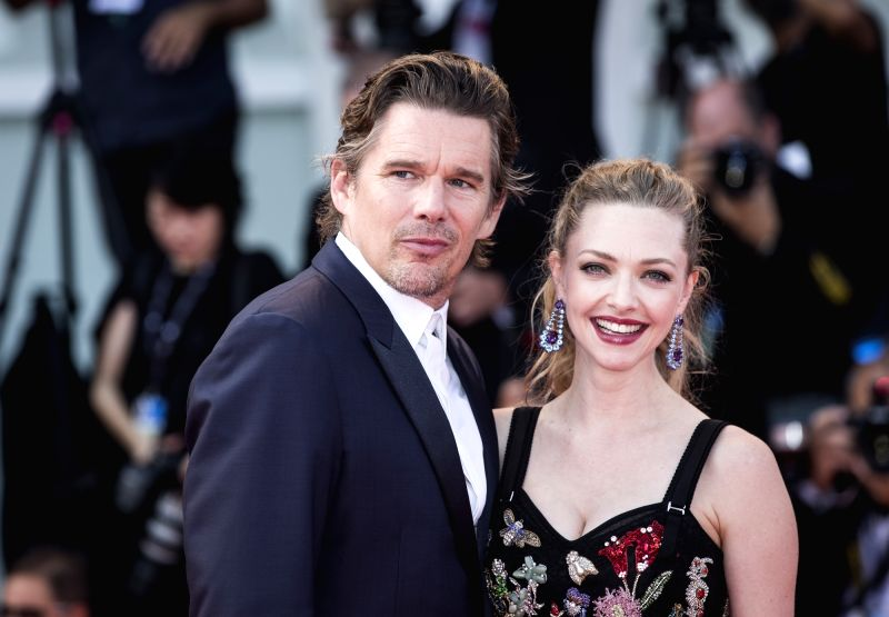 "VENICE, Sept. 1, 2017 - Actor Ethan Hawke (L) and actress Amanda Seyfried arrive for the premiere of the movie ""First Reformed"" at the 74th Venice Film Festival in Venice, Italy, on Aug. ... - Ethan Hawke"