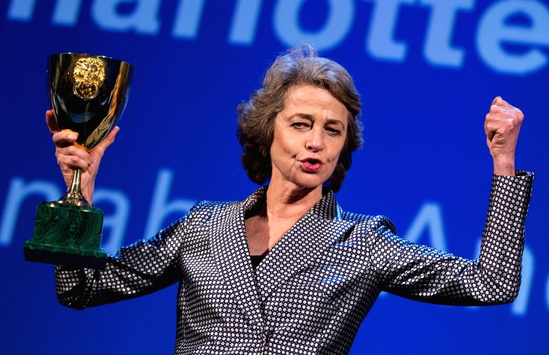"VENICE, Sept. 10, 2017 - Charlotte Rampling holds the Coppa Volpi for Best Actress for the movie ""Hannah"" during the award ceremony at the 74th Venice Film Festival, at the Lido of Venice, ..."