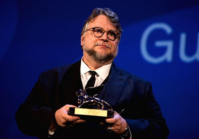 "VENICE, Sept. 10, 2017 - Director Guillermo Del Toro shows the Golden Lion Award for Best Film for his movie ""The Shape of Water"" during the 74th Venice Film Festival, at the Lido of ... - Guillermo Del Toro"