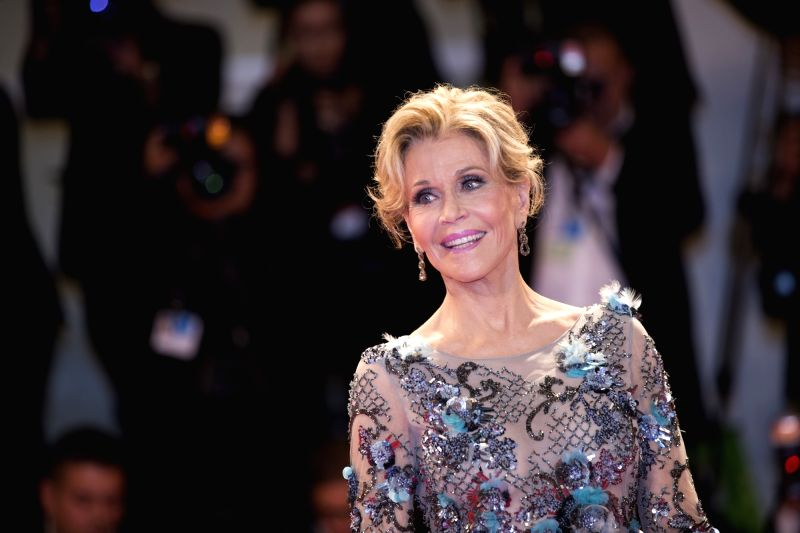VENICE, Sept. 2, 2017 - Actress Jane Fonda poses on the red carpet to receive the Golden Lion Award for Lifetime Achievement at the 74th Venice Film Festival in Venice, Italy, on Sept. 1, 2017. ... - Jane Fonda