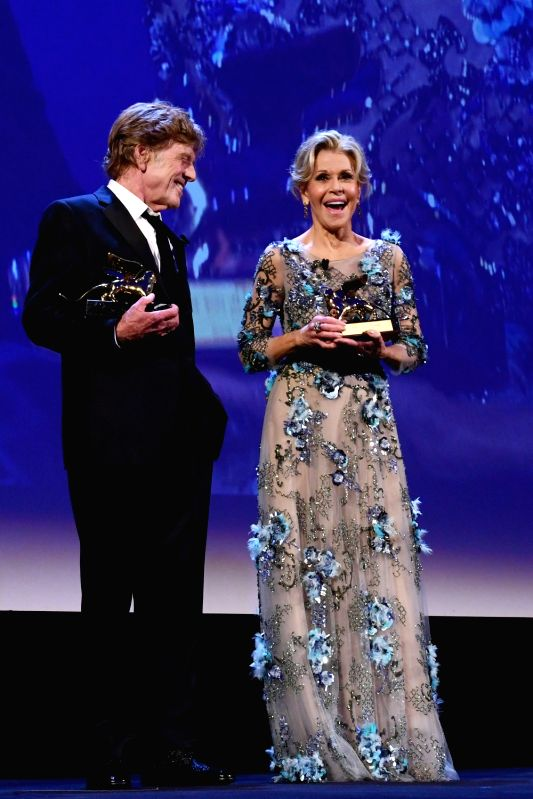 VENICE, Sept. 2, 2017 - Actress Jane Fonda (R) and actor Robert Redford receive the Golden Lion Award for Lifetime Achievement at the 74th Venice Film Festival in Venice, Italy, on Sept. 1, 2017. ... - Jane Fonda