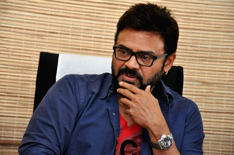 Venkatesh during press conference today in Hyderabad.