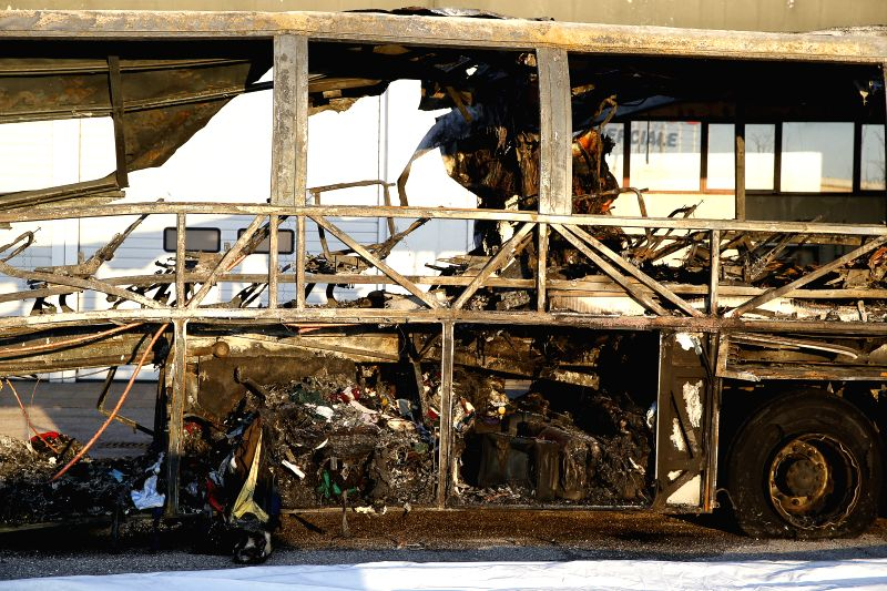 VERONA, Jan. 22, 2017 - The remains of the crashed bus are seen in Verona, Italy, Jan. 21, 2017. Sixteen people, primarily teenagers, died and 26 were hurt when the bus leased by a Budapest secondary ...