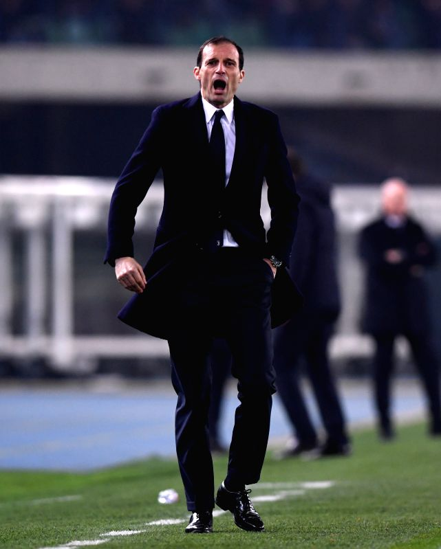 VERONA, Jan. 28, 2018 - Juventus' head coach Massimiliano Allegri gestures during the Italian Serie A soccer match between Juventus and Chievo in Verona, Italy, Jan. 27, 2018. Juventus won 2-0.